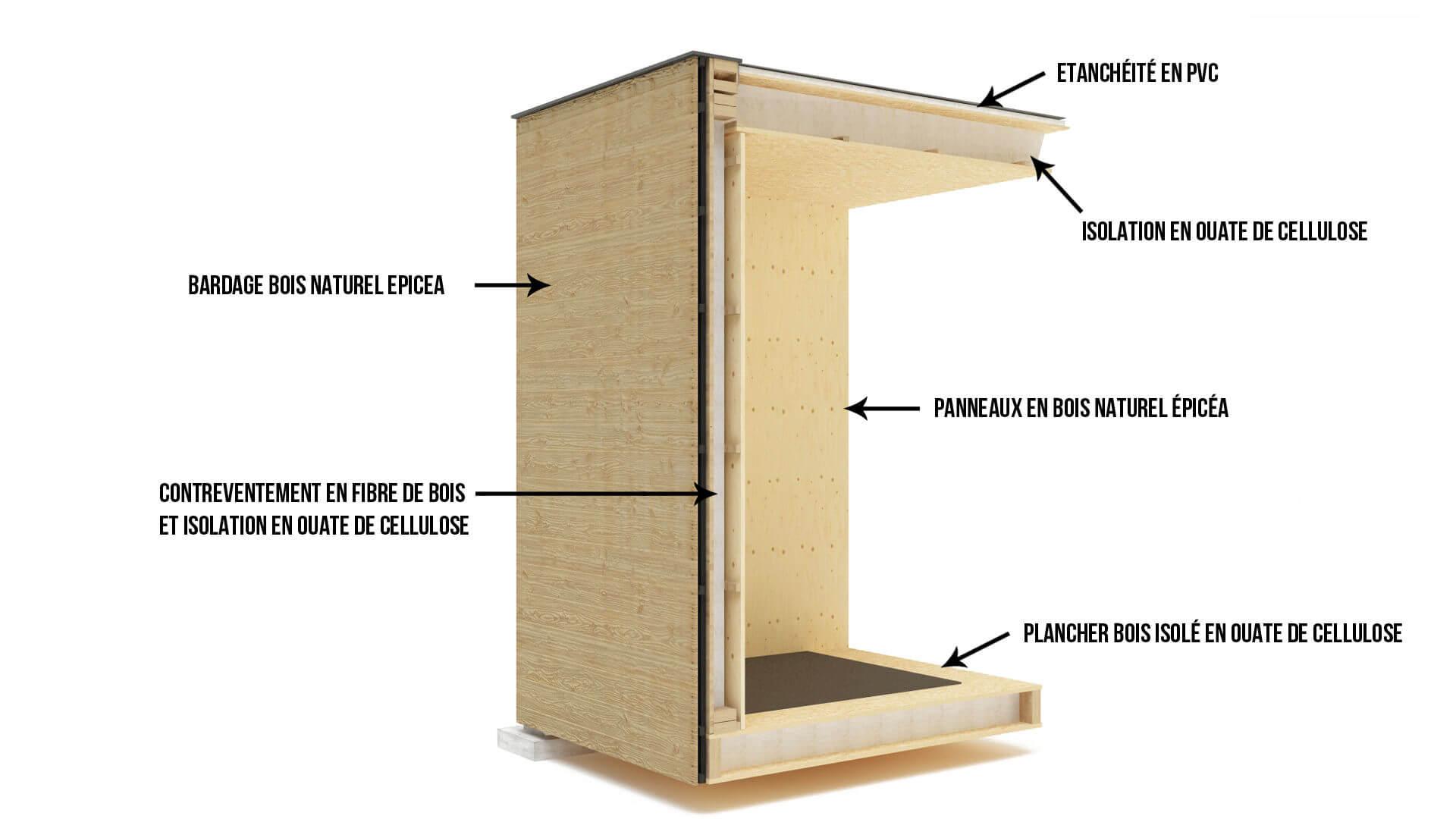 coupe studio de jardin en bois