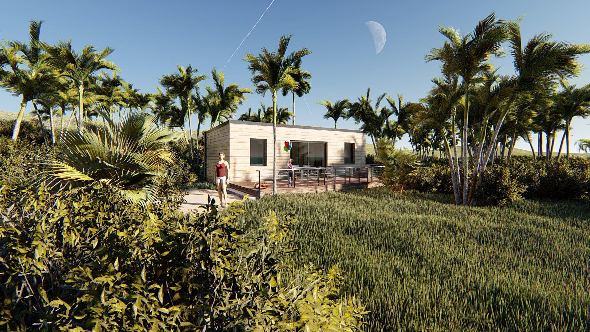 Studio de jardin 45 mobil home camping vue vegetation