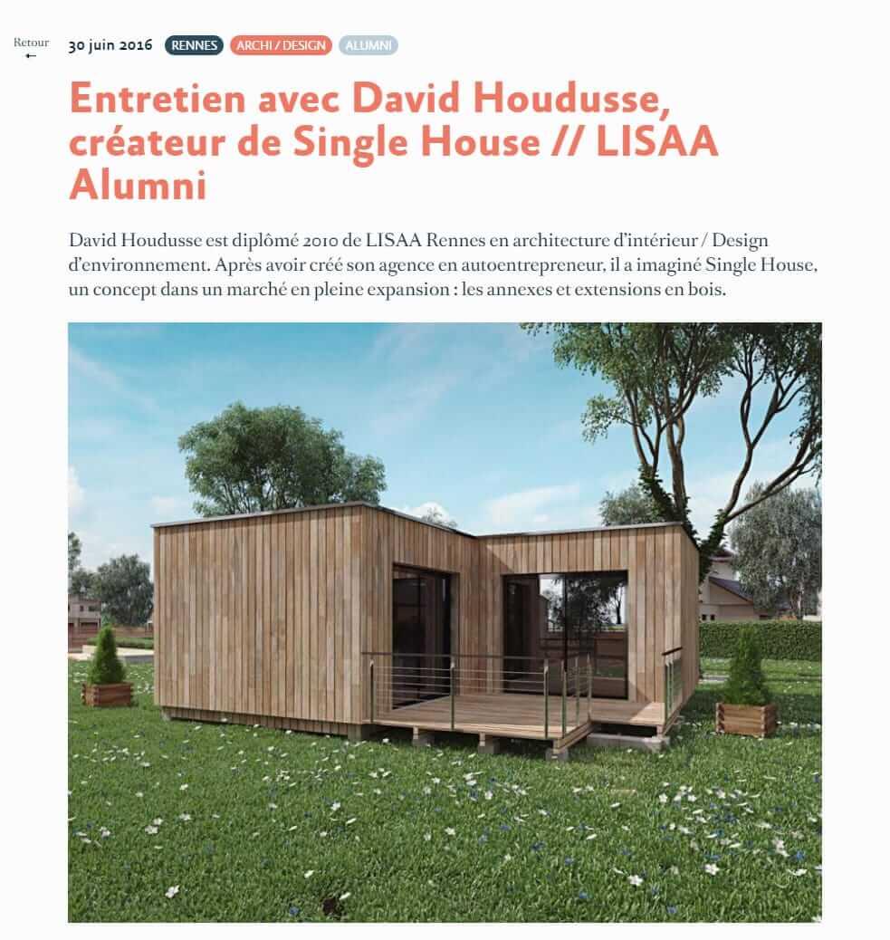 entretien pour l 39 cole lisaa rennes et paris studios de jardin et maisons cologiques en bois. Black Bedroom Furniture Sets. Home Design Ideas