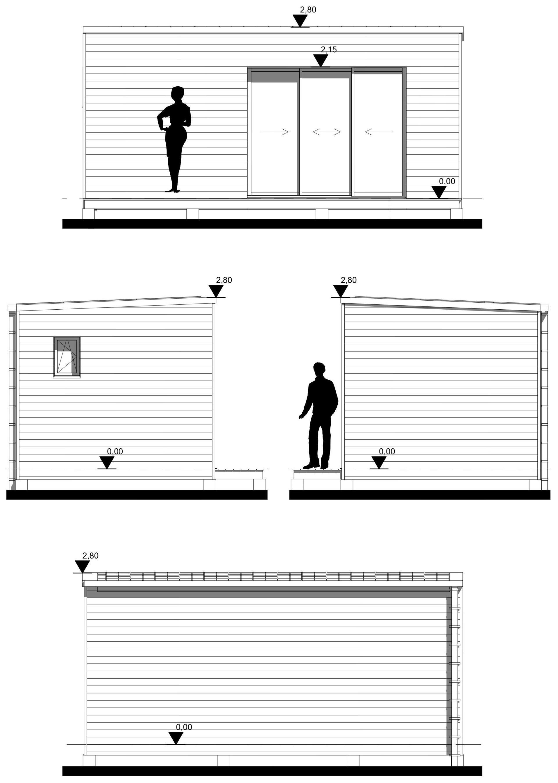 studio de jardin 20m2 plan façades