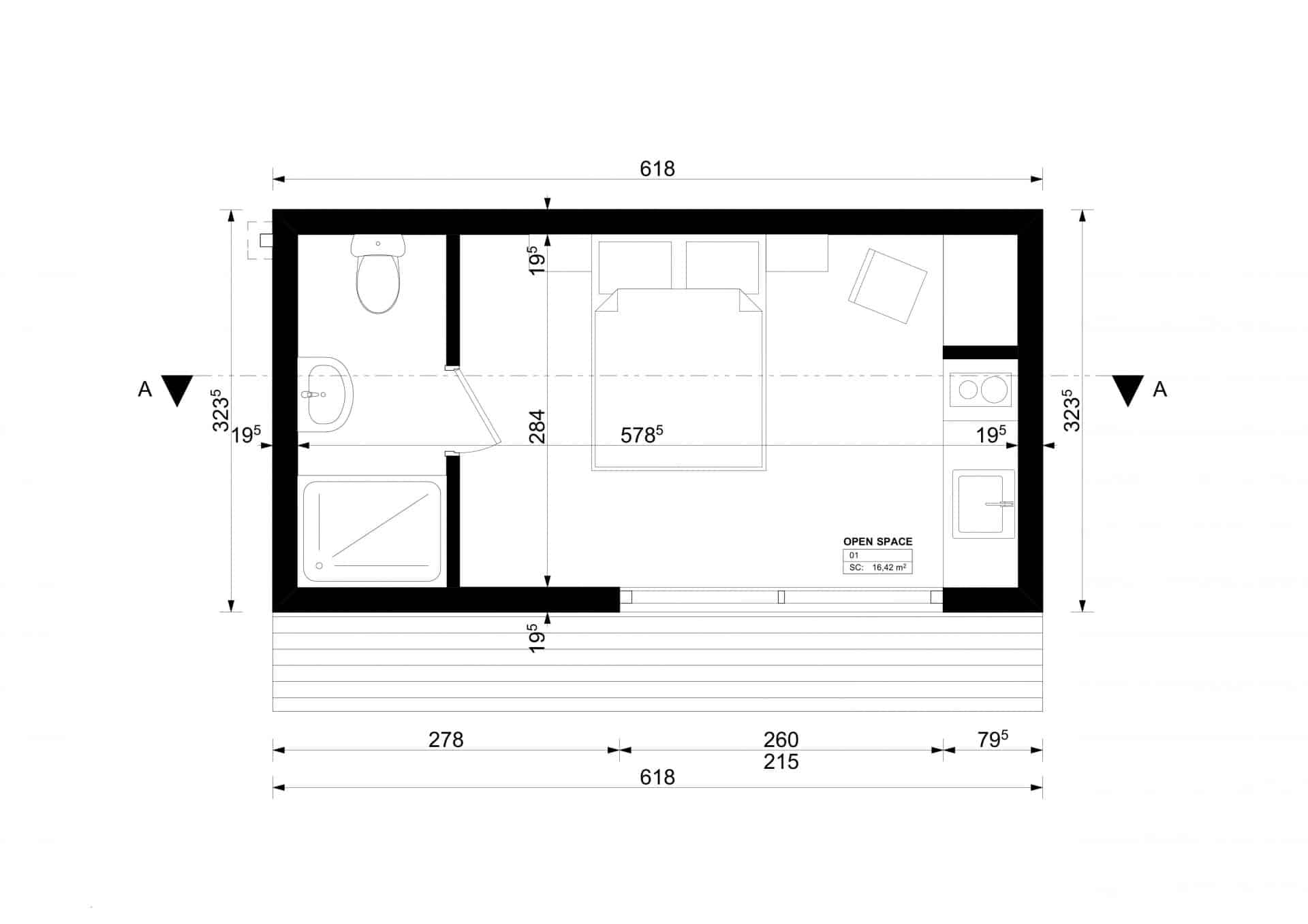 Studio de jardin 20m2 plan
