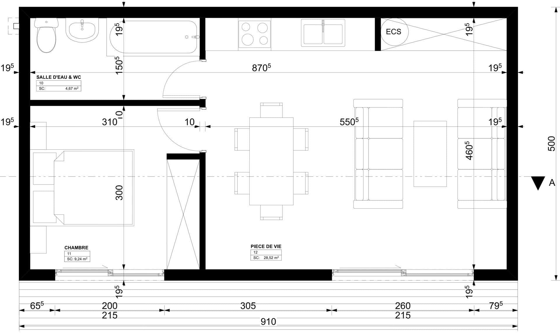 Studio de jardin 45m2
