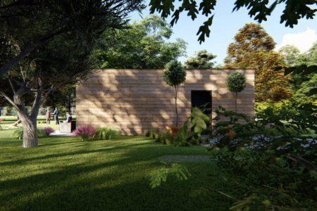 Maison individuelle bois 92m2 vue entree