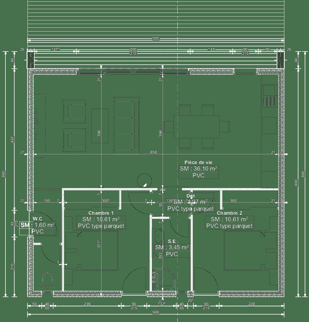plan de maison 72m2