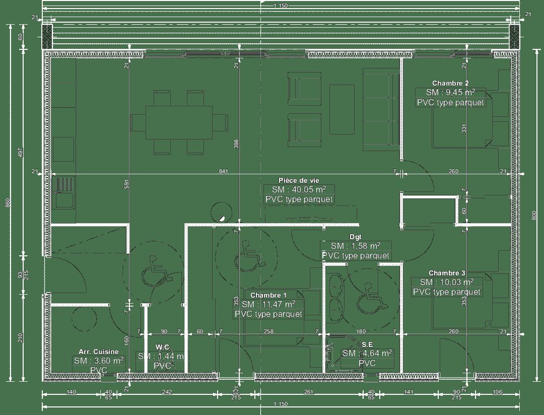Plan maison individuelle 92m2