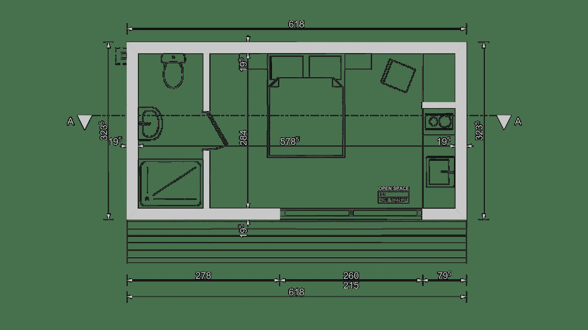 Plan studio de jardin 20m2