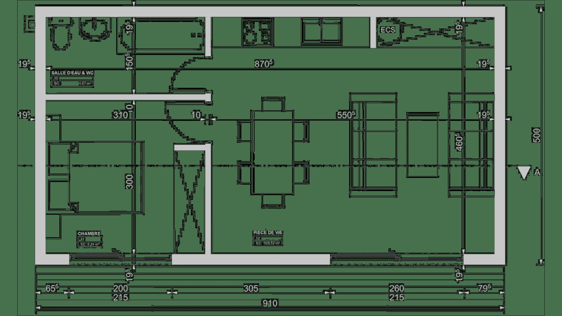 Plan studio de jardin 45m2