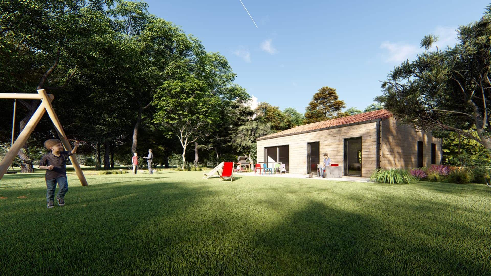 Maison ossature bois vue jardin