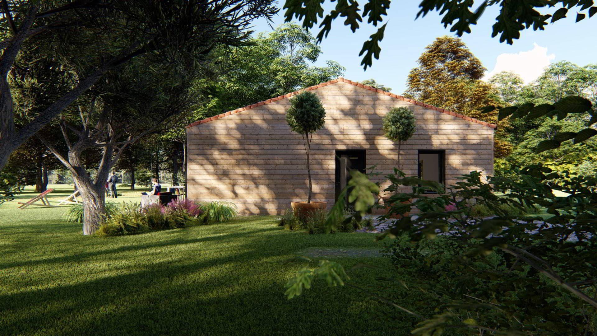 Maison ossature bois vue entrée