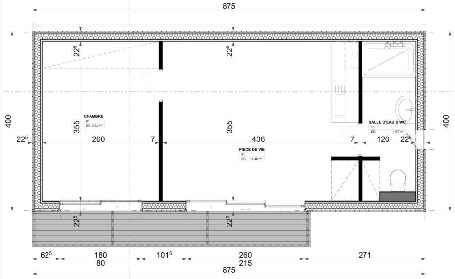 studio bois 35m2 plans
