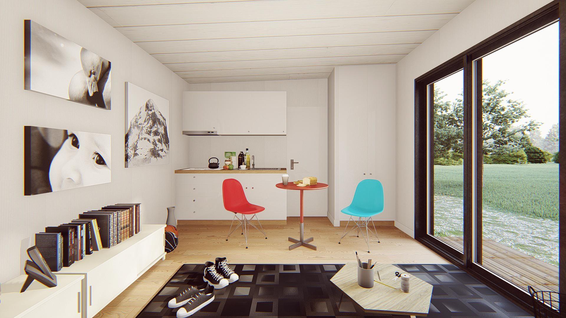 studio de jardin 35 m2 vue interieure