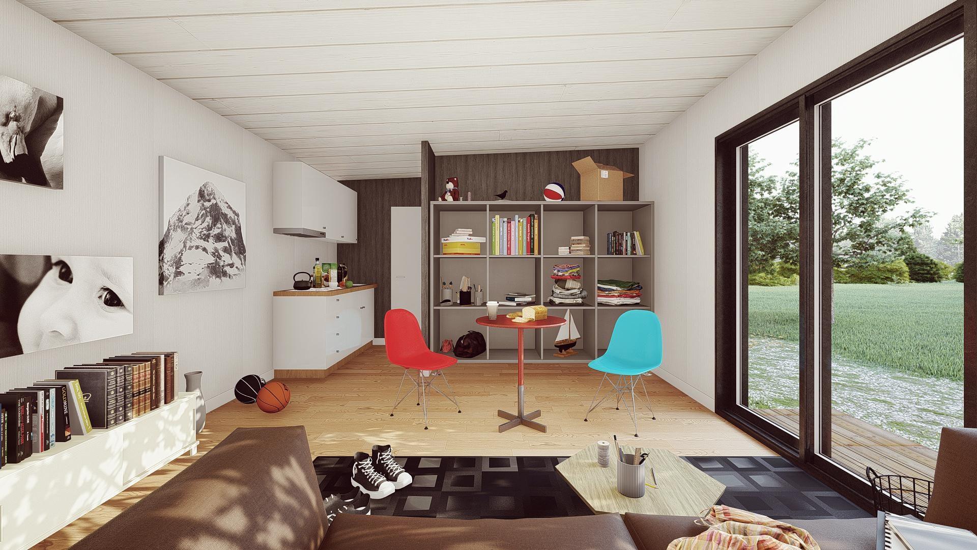 studio de jardin 50mE interieur sejour