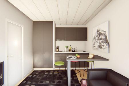 studio de jardin 25m2 nantes vue interieure cuisine