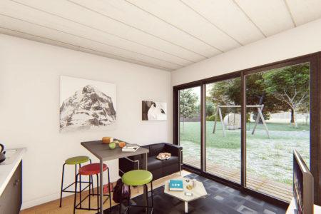 studio de jardin 25m2 vue baie coulissante terrasse bois