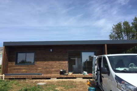 chantier realisation studio de jardin en bois bretagne